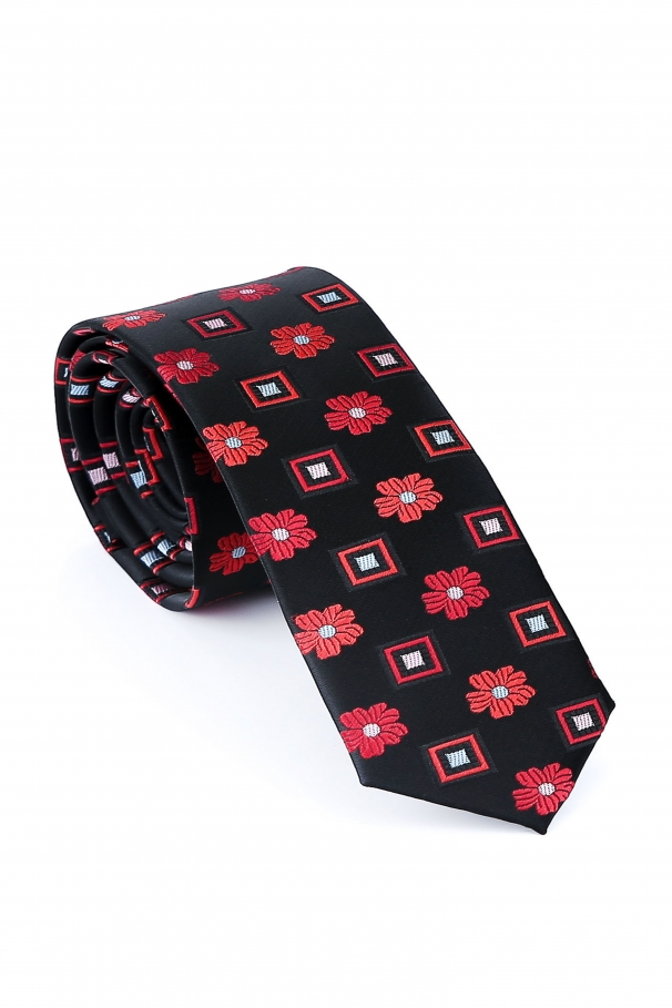 Cravata Slim neagra din matase cu flori