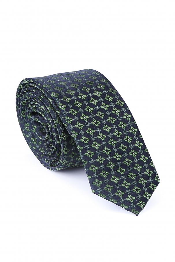 Cravata Slim din matase bleumarin cu flori verzi