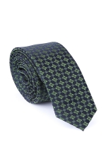 Navy Blue Tie With Green Flowers