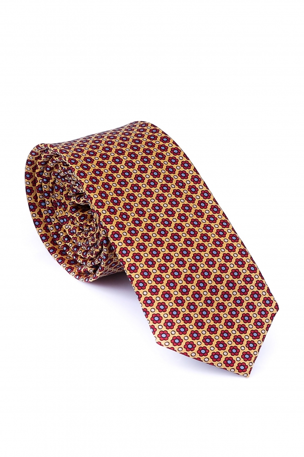 Ivory Tie With Red Flowers