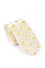 Cravata Slim din matase crem cu flori galbene