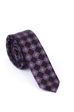 Cravata Slim din matase in nuante de negru si violet