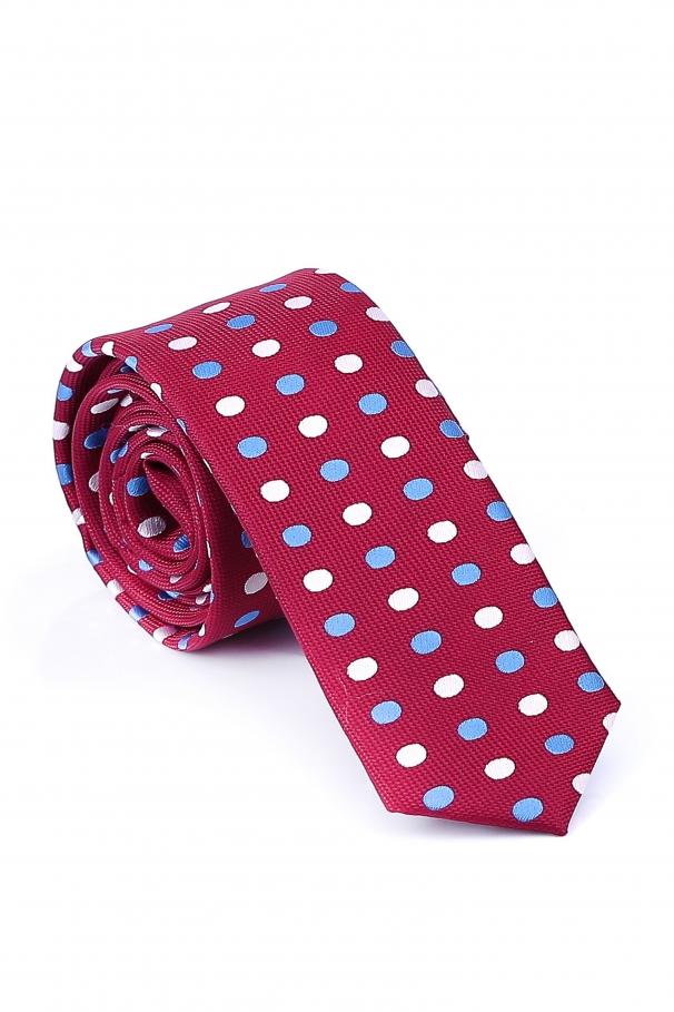 Cravata Slim din matase bordo cu cercuri albe