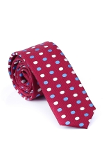 Burgundy Tie With White & Blue Circles