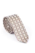 Cravata Slim din matase cu carouri si patrate gri