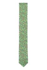 Cravata Slim din matase verde cu potcoave