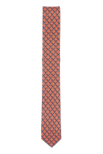 Cravata Slim din matase portocalie in romburi