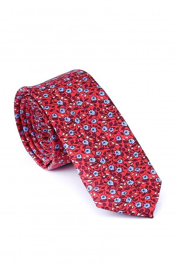 Cravata Slim din matase rosie cu flori