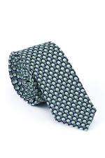 Cravata Slim din matase albastra cu buline verzi