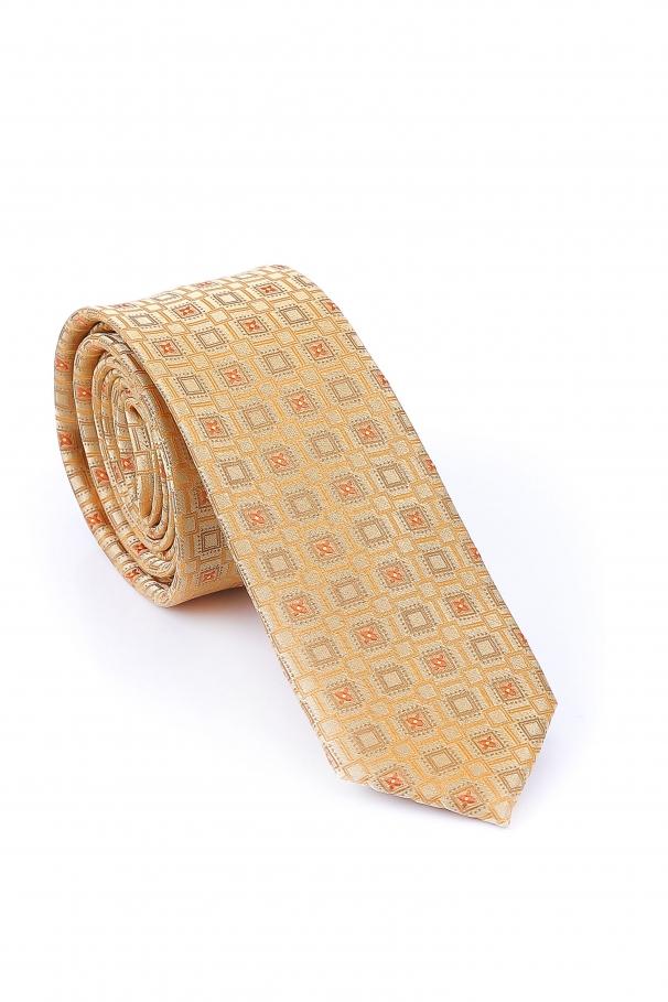 Cravata Slim din matase cu dreptunghiuri ivory si portocali