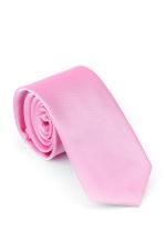 Cravata Slim din matase roz uni