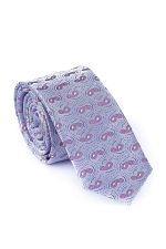 Cravata Slim din matase cu modele in nuante de violet