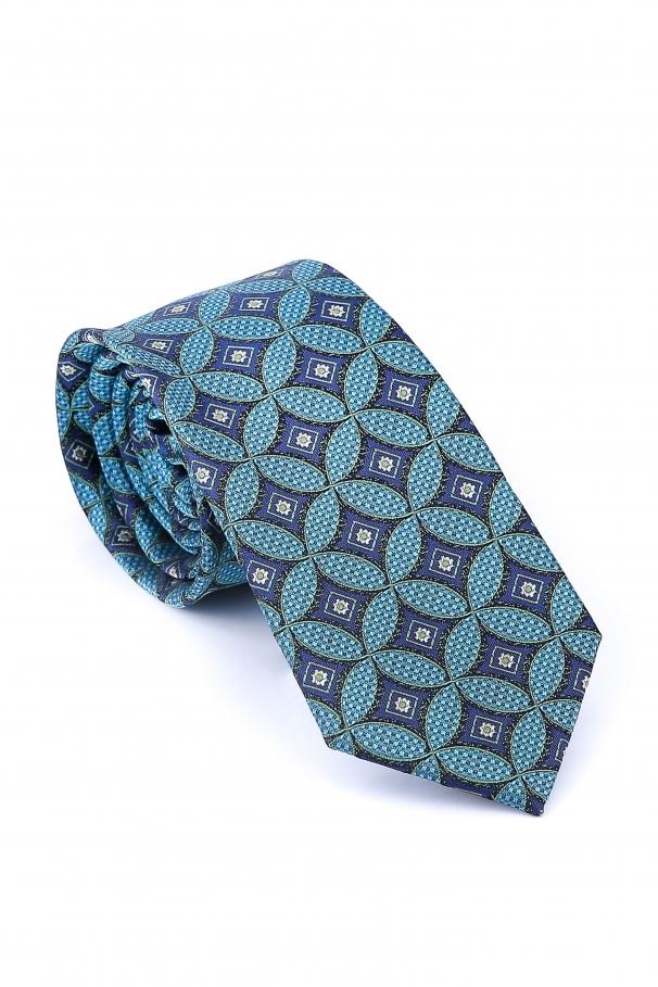 Cravata Slim de culoare turcoaz in romburi mov