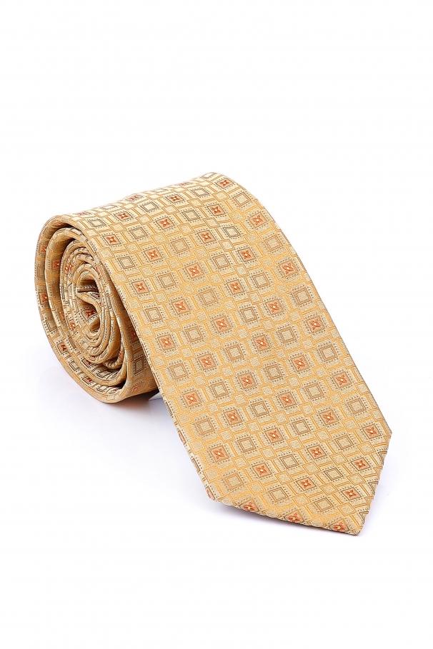Cravata Slim de culoare ivory in patrate