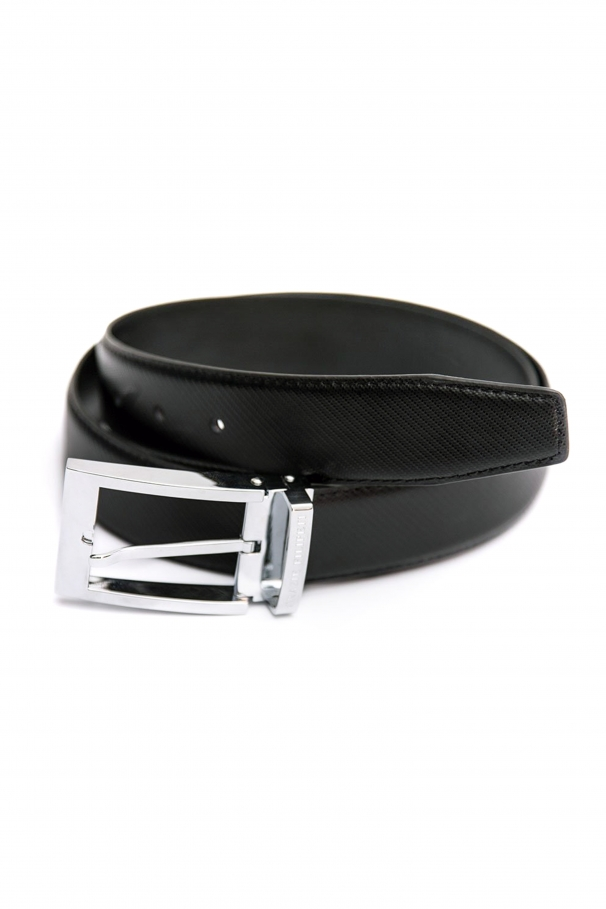 Black leather belt with lines by Grazie Filipeti