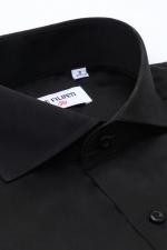 Camasa slim fit neagra cu butoni si guler italian