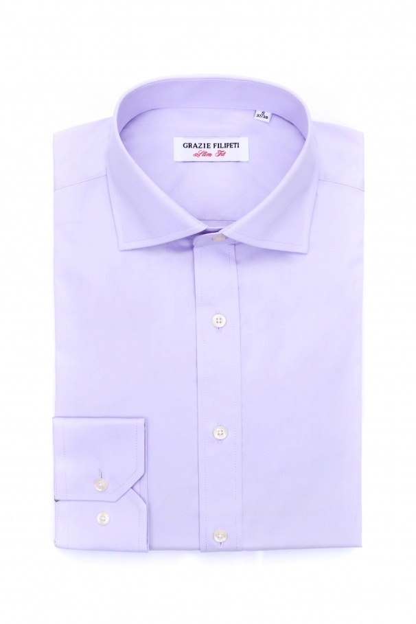Camasa casual silm fit violet cu nasturi din perla