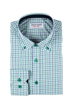 Camasa casual slim fit verde in carouri