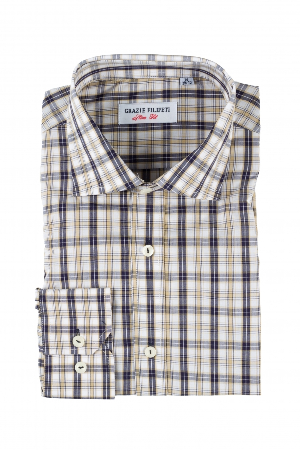 Brown checked shirt with pearl buttons