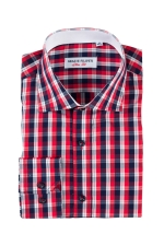 Red checked casual shirt with navy blue buttons