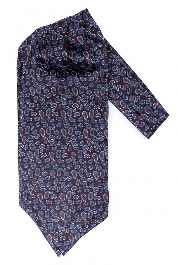Esarfa ascot bleumarin cu modele paisley si puncte rosii