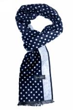 Blue ascot scarf with blue & white circles by Grazie Filipeti