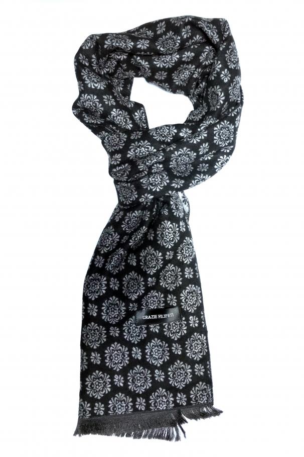 b2ae04272 Black cashmere scarf with grey models by Grazie Filipeti