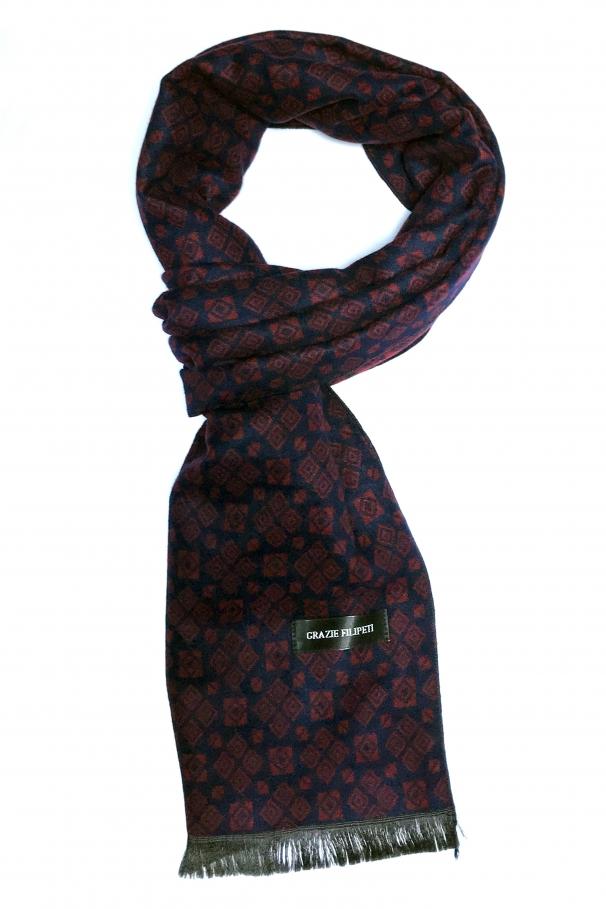 fac9d6514 Dark blue cashmere scarf with bordeaux models by Grazie Filipeti ...