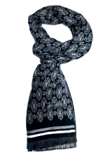 Esarfa neagra din casmir cu modele in nuante gri si alb