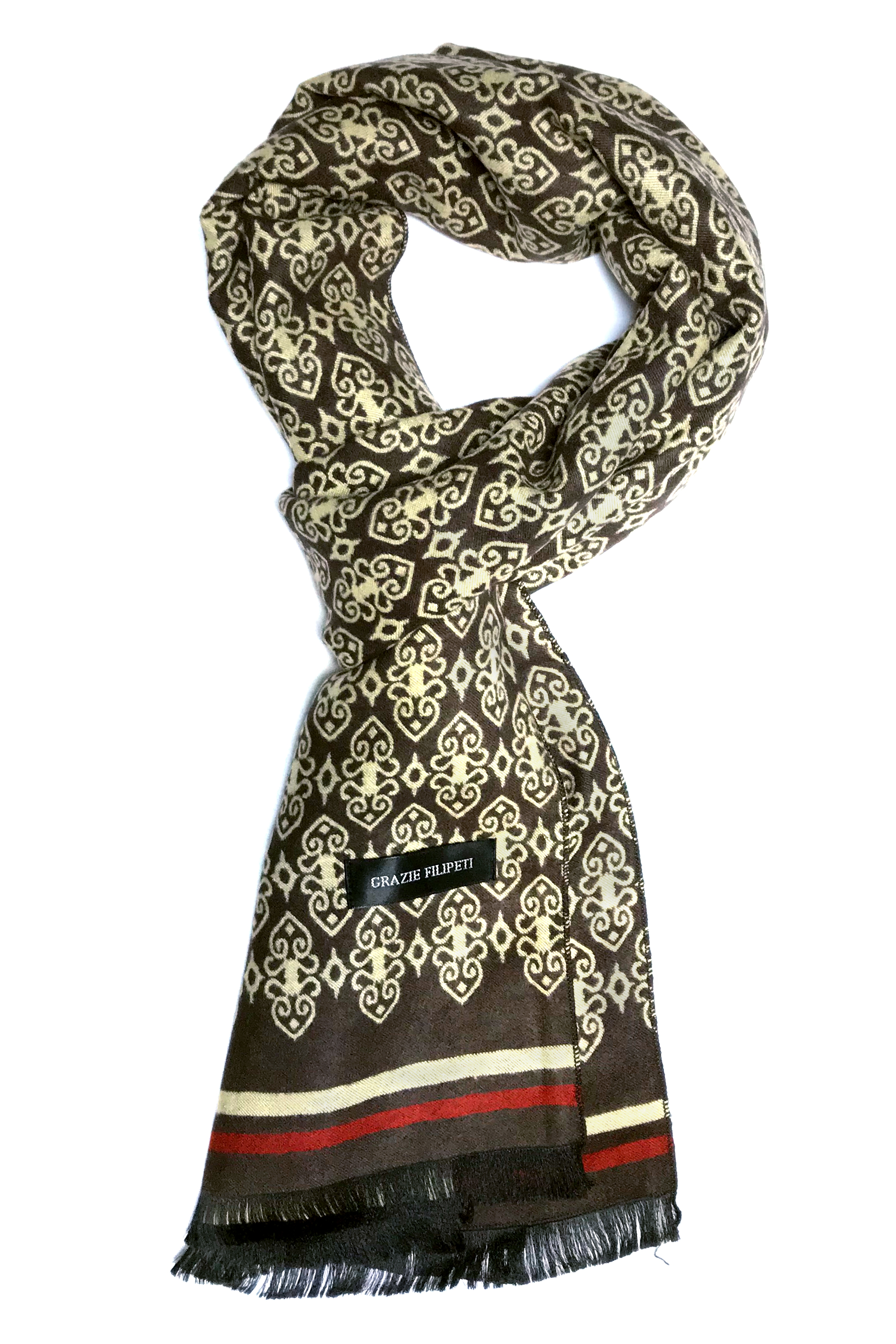 fdc096fe1 Cashmere scarf with brown & ivory models by Grazie Filipeti - GRAZIE ...