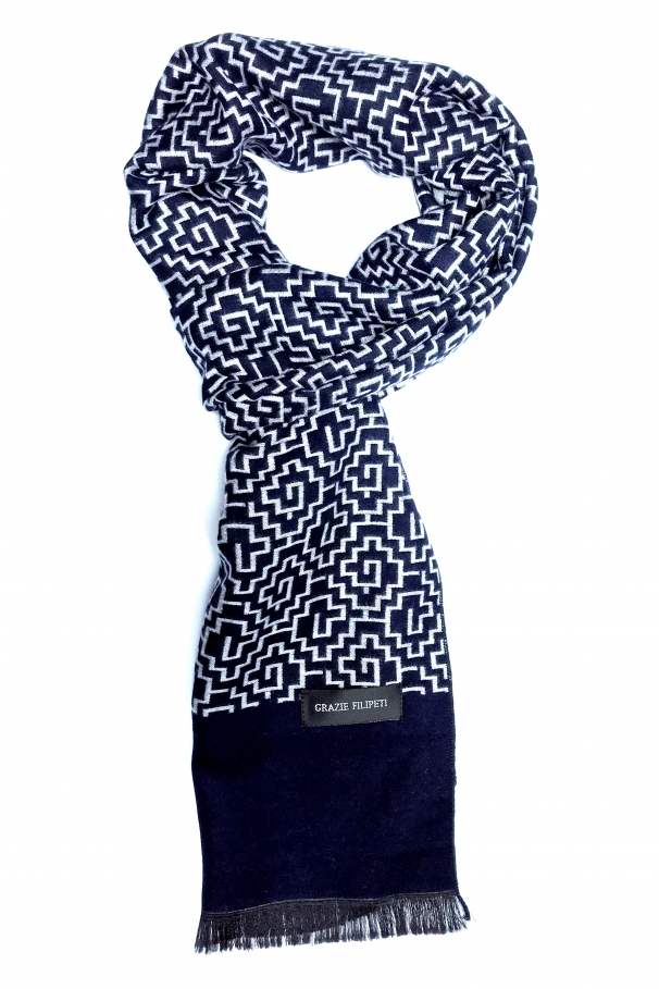 c3a236d22 Dark blue cashmere scarf with white models ...