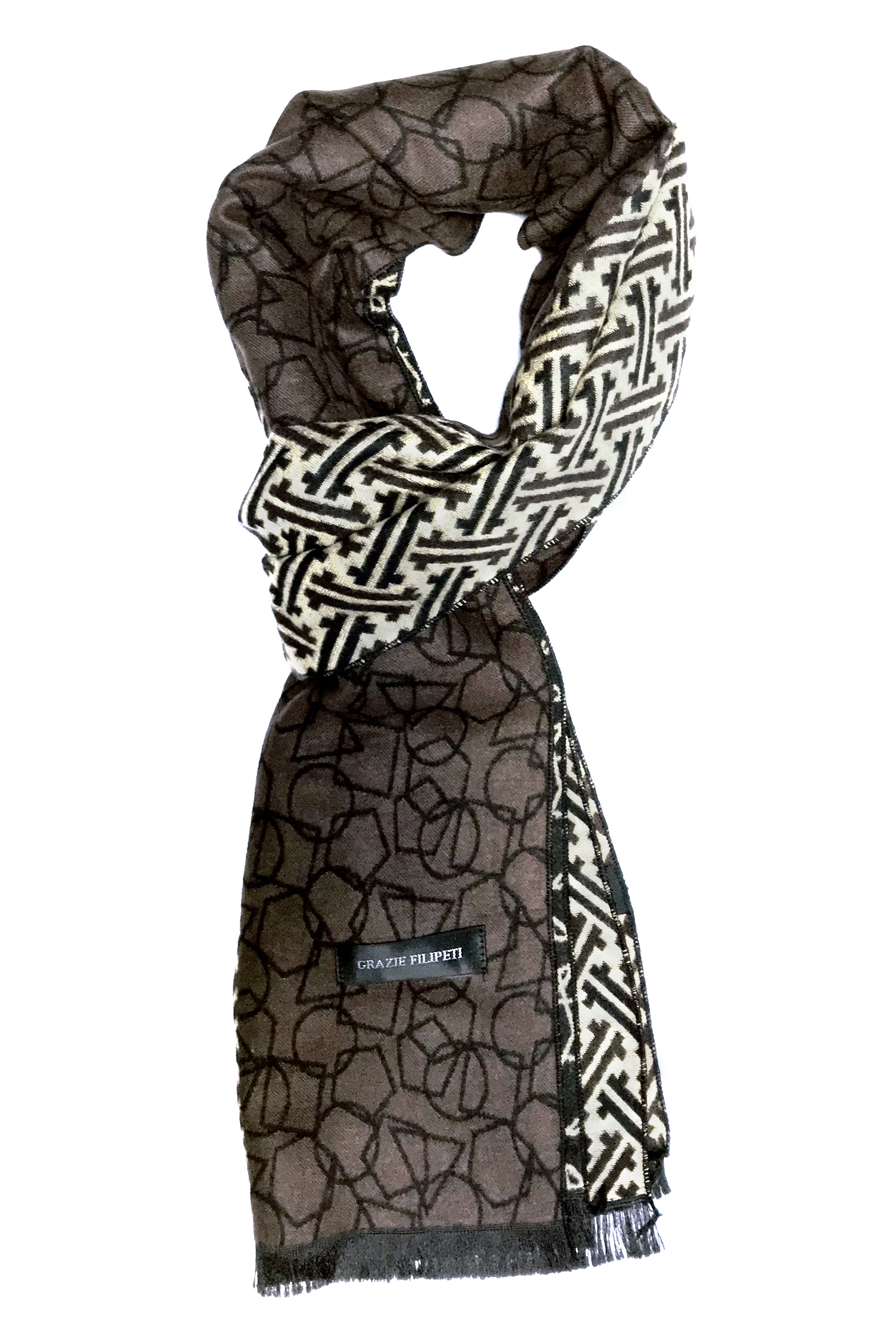 04083895c Cashmere scarf with ivory and brown models by Grazie Filipeti ...