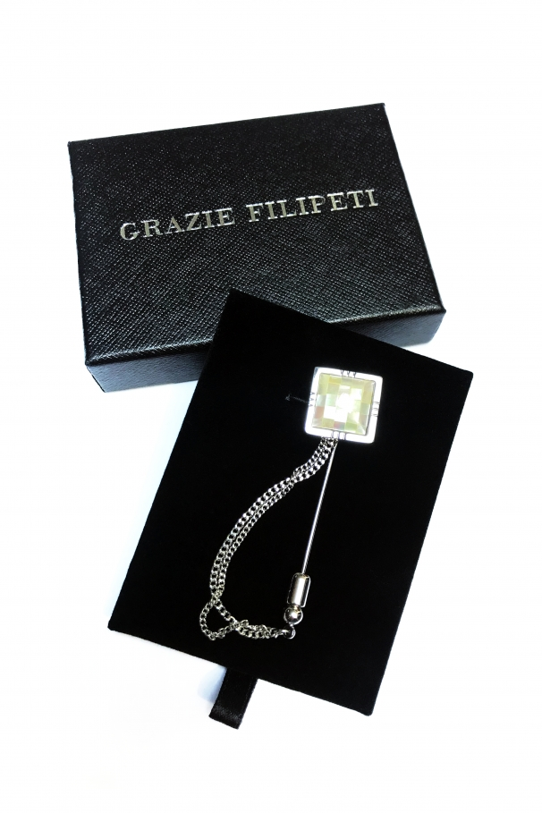8c830286b Lapel Pin with ivory stones by Grazie Filipeti