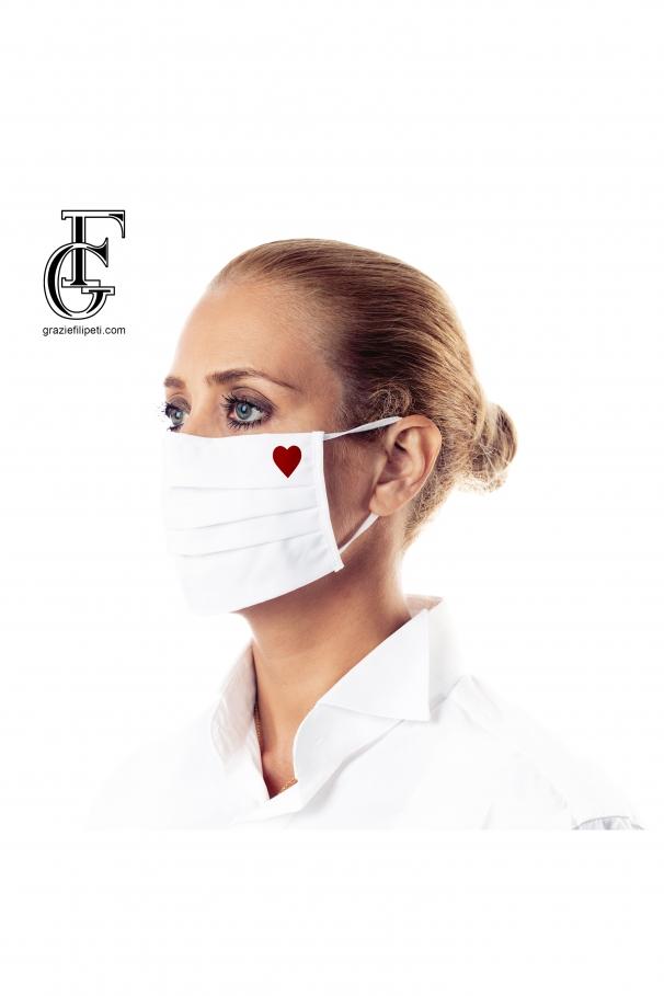 Mască personalizată din bumbac (model - inimă)