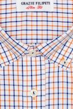 Camasa slim fit in carouri portocali si bleu